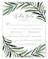 This is a green rsvp card by Yaling Hou Suzuki called Green leaf frame with standard printing on signature in standard.
