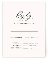 This is a black rsvp card by carly reed walker called Eternal with standard printing on signature in standard.
