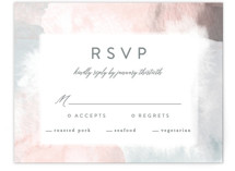 This is a pink rsvp card by Creo Study called Sea Froth with standard printing on signature in standard.