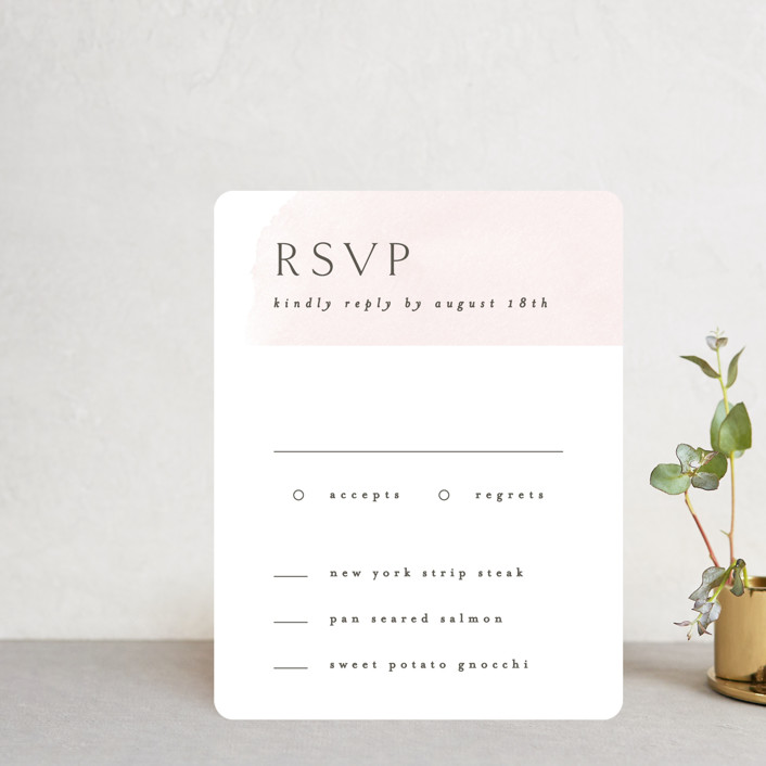 """""""Softly Layered"""" - Rsvp Cards in Blush by Everett Paper Goods."""