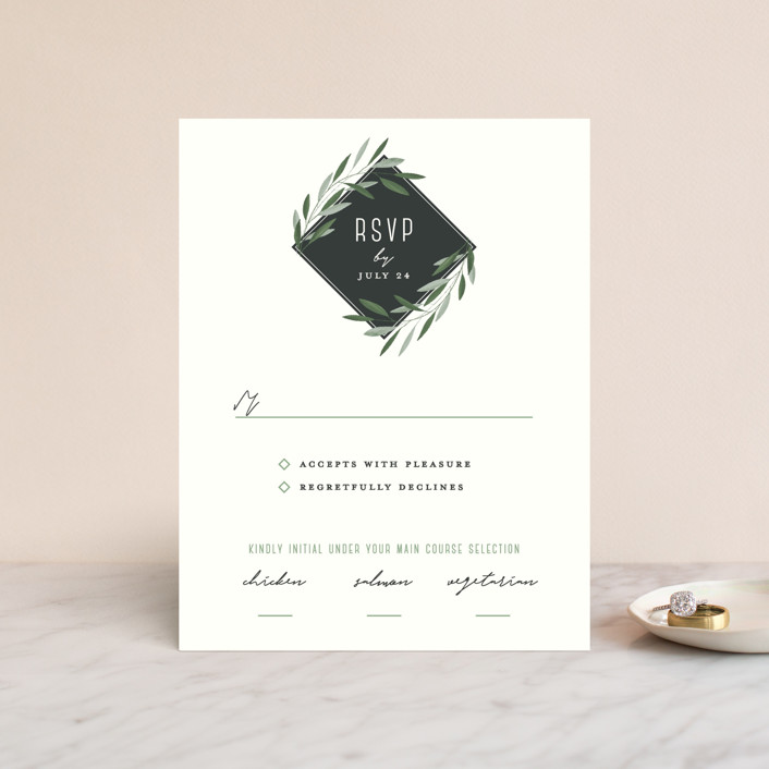 """""""Oliviers"""" - Rsvp Cards in Spring by Gwen Bedat."""