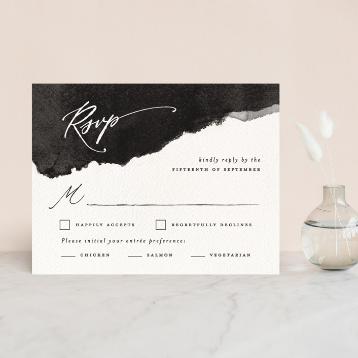 """Inky"" - Modern Rsvp Cards in Ink by Pink House Press."