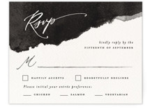 This is a black and white rsvp card by Pink House Press called Inky with standard printing on signature in standard.