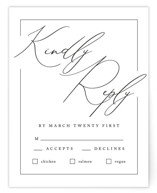 This is a black and white rsvp card by Liz Conley called Love Story with standard printing on signature in standard.