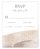 This is a brown rsvp card by christina enciso called requiem with standard printing on signature in standard.