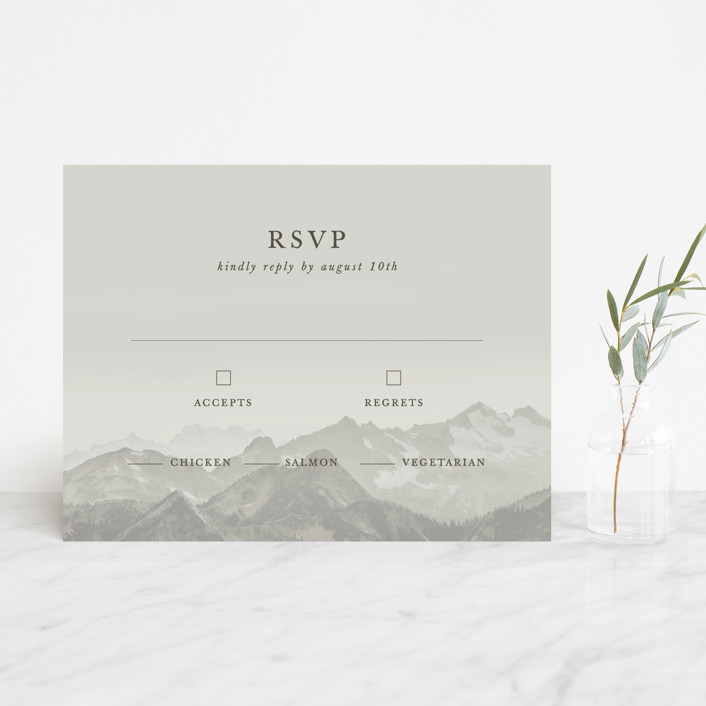 """Modern Mountain"" - Rustic Rsvp Cards in Fog by Gratia Design Co.."