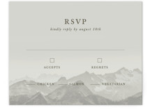 This is a grey rsvp card by Gratia Design Co. called Modern Mountain with standard printing on signature in standard.