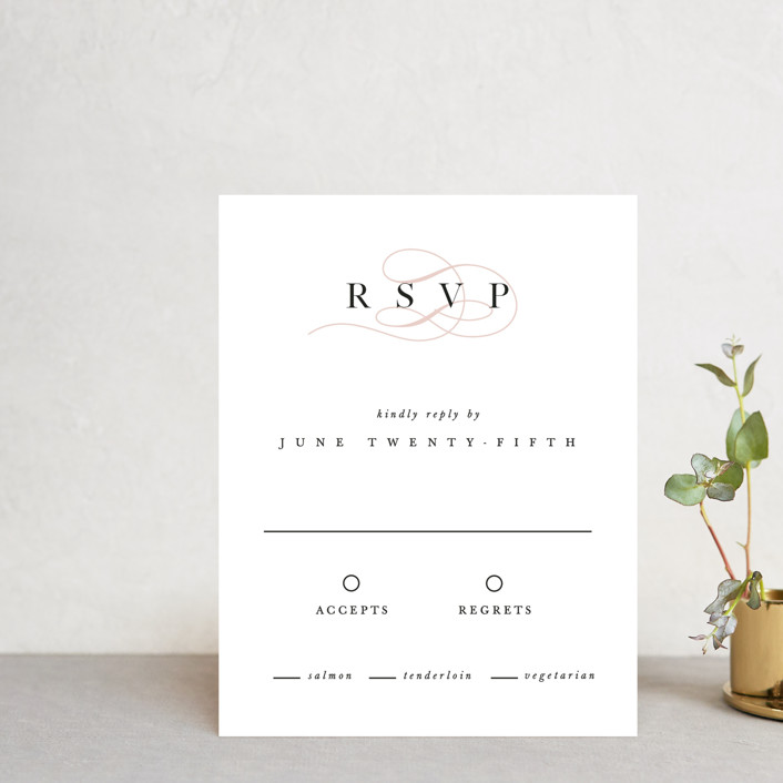 """First Love"" - Rsvp Cards in Blush by Pixel and Hank."