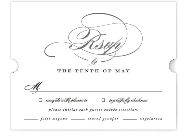 This is a classic and formal, black RSVP Cards by Jennifer Postorino called Swept Away with Standard printing on Signature in Card Flat Card format. Beautiful, flourishing script and a fresh layout give this wedding invitation a classic and elegant ...