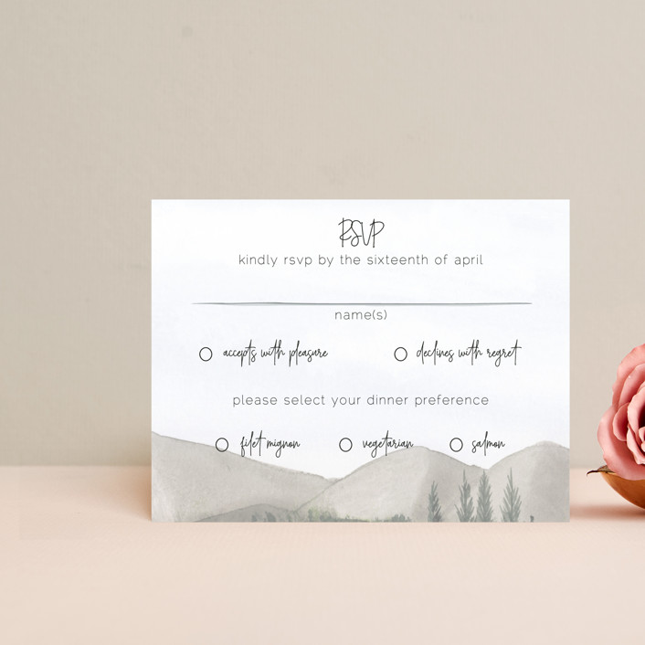 """muted mountains"" - Rustic Rsvp Cards in Splendid Day by Deborah Chou."