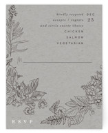 This is a grey rsvp card by Baumbirdy called Floral Frame Sketch with standard printing on signature in standard.