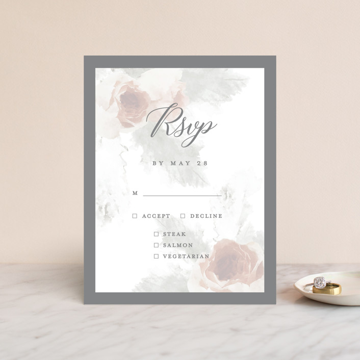 """rose drop"" - Rsvp Cards in Rose by Cassandra Imagines."