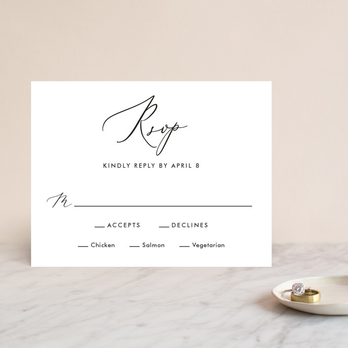 """Scripted Romance"" - Rsvp Cards in Classic by Katherine Moynagh."