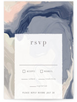 This is a blue rsvp card by Hooray Creative called marble majesty with standard printing on signature in standard.
