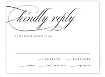 This is a white rsvp card by Kelly Schmidt called Scripted Union with standard printing on signature in standard.