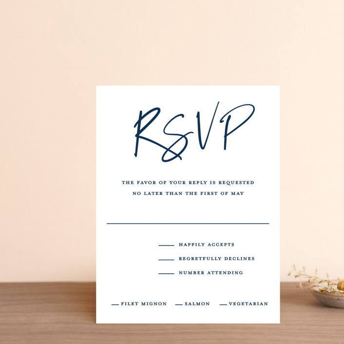 """""""Semi Formal"""" - Rsvp Cards in Navy by Paper Dahlia."""