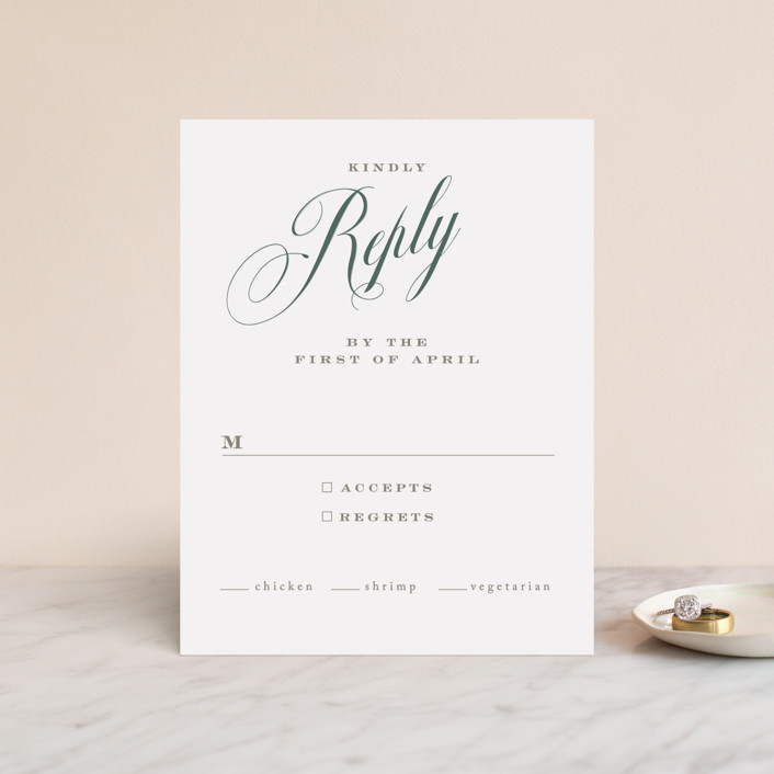 """""""Roman Shade"""" - Rsvp Cards in Evergreen by Carrie ONeal."""