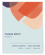 This is a orange rsvp card by Carrie Moradi called tissue texture with standard printing on signature in standard.