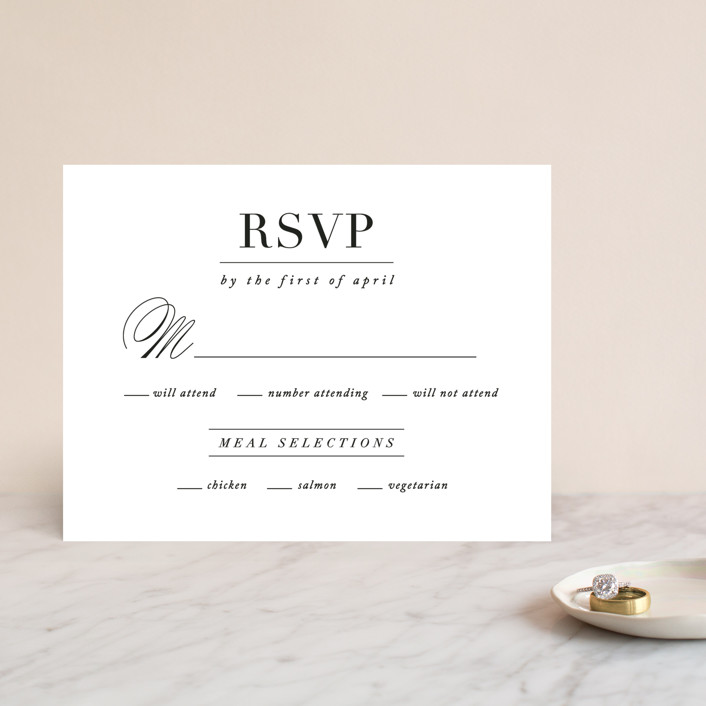 """Typography"" - Rsvp Cards in Pearl by lena barakat."