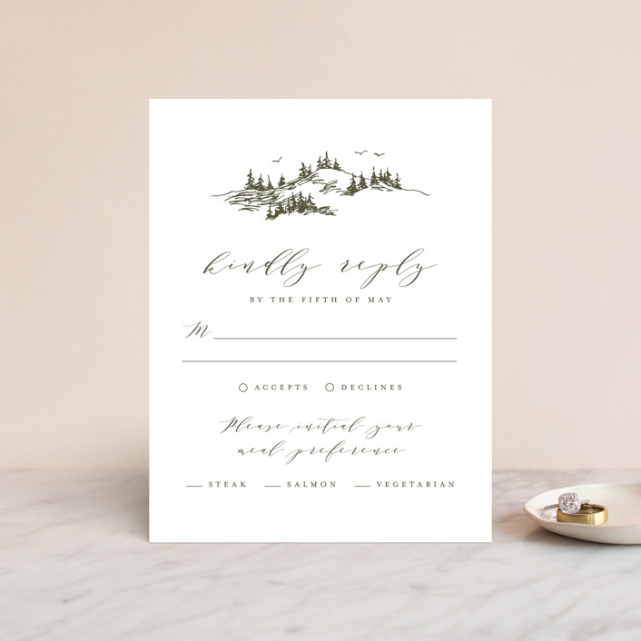 """""""into the mountains"""" - Rustic Rsvp Cards in Olive by Helen Halik."""