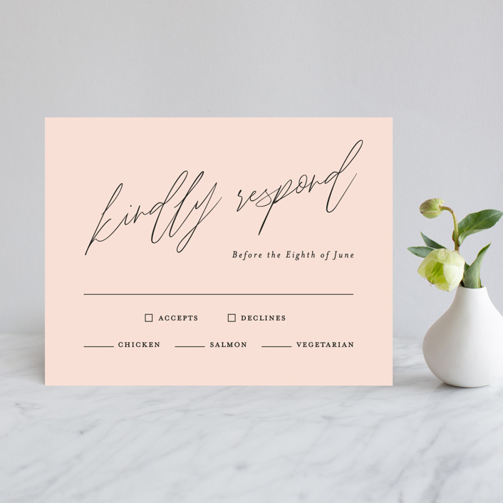 """""""Bare"""" - Rsvp Cards in Blush by Kelly Nasuta."""
