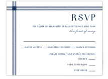 This is a blue rsvp card by Kerry Doyle - Paper Dahlia called window pane check with standard printing on signature in standard.