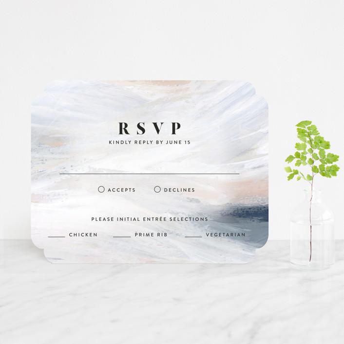 """wishful"" - Modern Rsvp Cards in Tide by Kate Ahn."