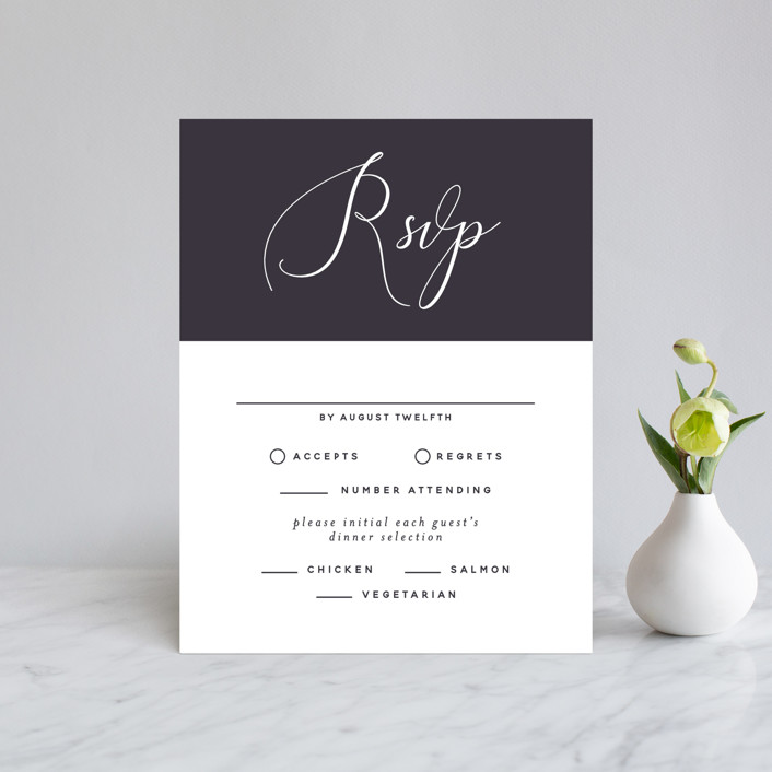 """""""Right Side"""" - Rsvp Cards in Blackberry by Susan Brown."""