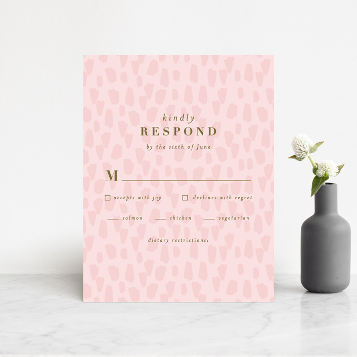 """""""romance in spring"""" - Rsvp Cards in Olive by Angela Marzuki."""