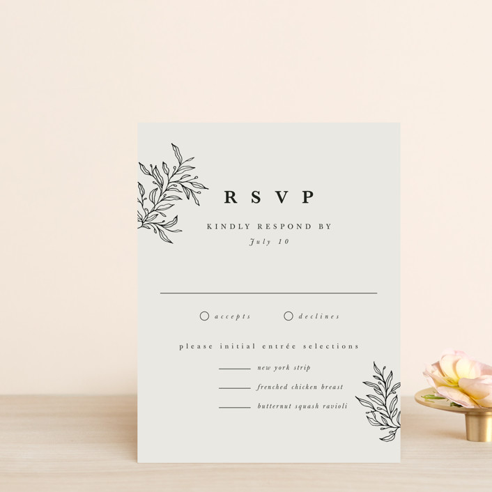 """leafy wreath"" - Rsvp Cards in Cotton by Kate Ahn."