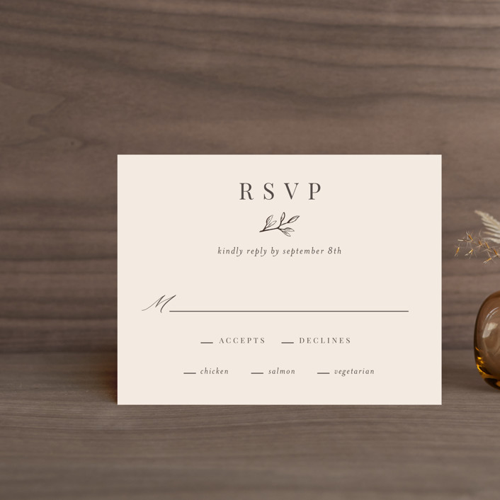 """""""Leafy Branch"""" - Rsvp Cards in Latte by Katherine Moynagh."""