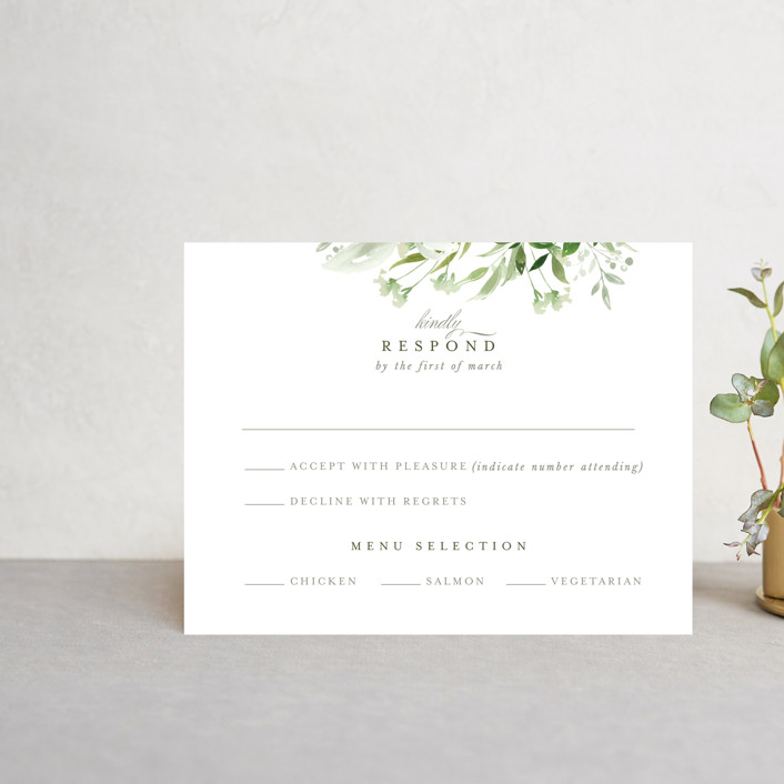 """Verdure"" - Rsvp Cards in Garden by Leah Bisch."