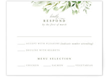 This is a green rsvp card by Leah Bisch called Verdure with standard printing on signature in standard.