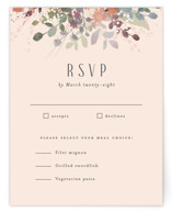 This is a pink rsvp card by Jennifer Wick called Golden Hour with standard printing on signature in standard.