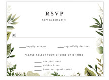 This is a white rsvp card by Susan Moyal called Enchanted Greenery with standard printing on signature in standard.
