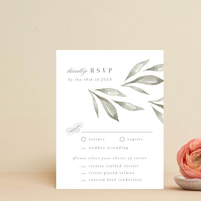 """Whispered Leaves"" - Rsvp Cards in Leaf by Kristie Kern."