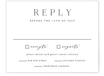 This is a white rsvp card by Hooray Creative called Classy Type with standard printing on signature in standard.