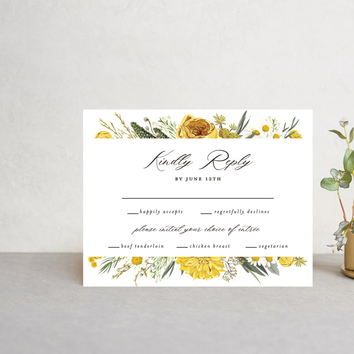 """""""Organic Florals"""" - Rsvp Cards in Honey by Susan Moyal."""