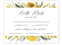 This is a yellow rsvp card by Susan Moyal called Organic Florals with standard printing on signature in standard.