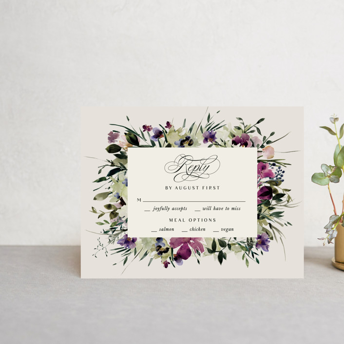 """""""Floral Love"""" - Rsvp Cards in Lilac by Lori Wemple."""