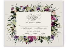 This is a purple rsvp card by Lori Wemple called Floral Love with standard printing on signature in standard.