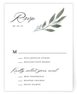 This is a white rsvp card by Stacey Meacham called Pressed Foliage with standard printing on signature in standard.