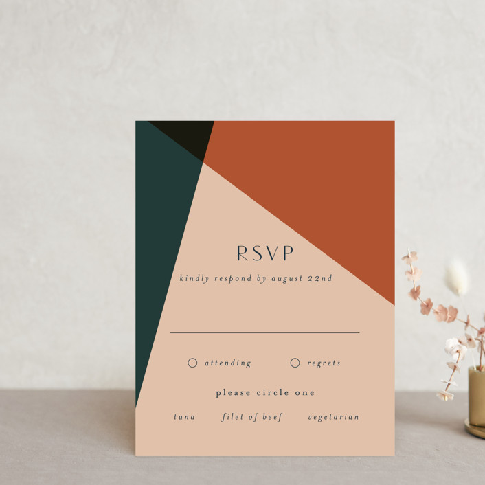 """""""Bold Geometric"""" - Modern Rsvp Cards in Terracotta by Morgan Kendall."""
