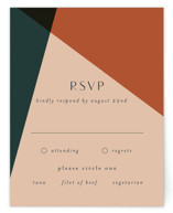 This is a orange rsvp card by Morgan Kendall called Bold Geometric with standard printing on signature in standard.