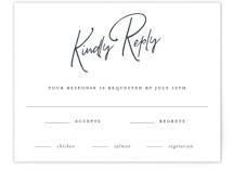 This is a blue rsvp card by Sandra Picco Design called Proposal with standard printing on signature in standard.