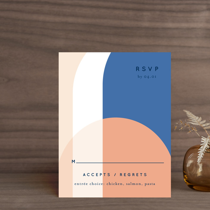 """""""Color Arch"""" - Modern Rsvp Cards in Aquatic by Baumbirdy."""