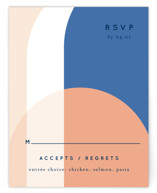This is a blue rsvp card by Baumbirdy called Color Arch with standard printing on signature in standard.