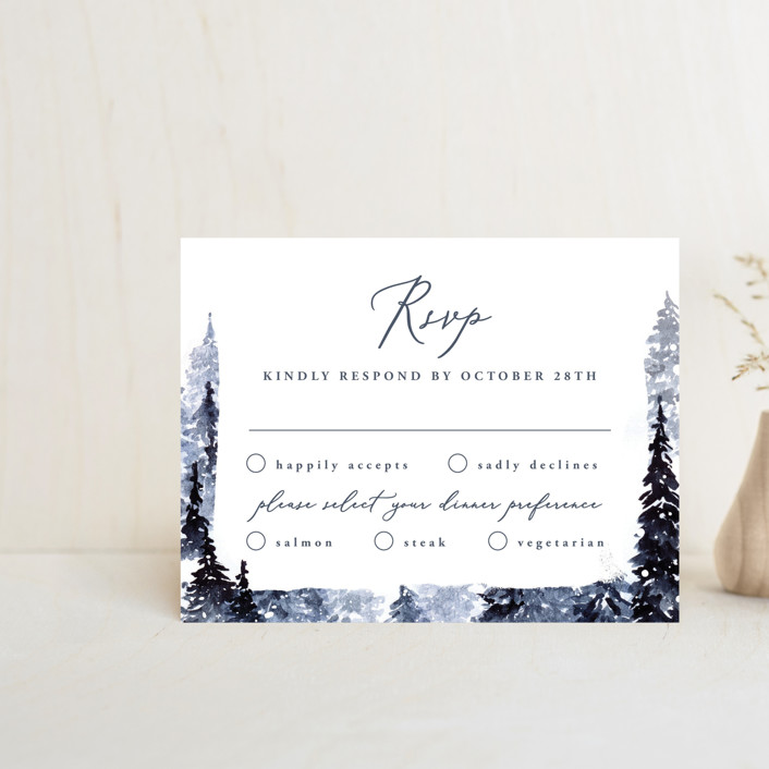 """Let it Snow"" - Rustic Rsvp Cards in Celestial by Anastasia Makarova."