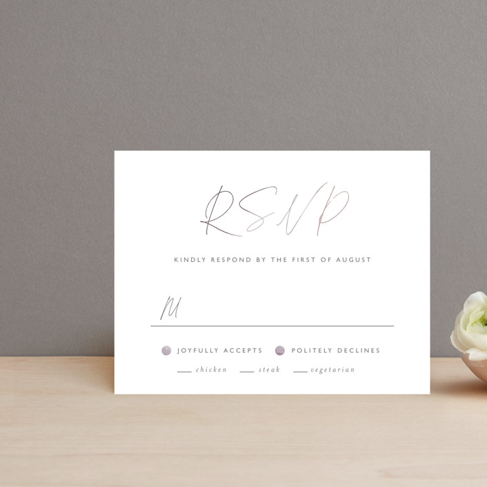 """""""Ethereal Names"""" - Rsvp Cards in Plum by Carolyn MacLaren."""
