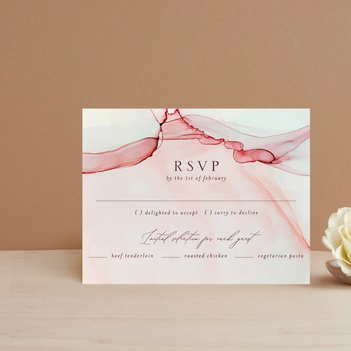 """opalescent"" - Rsvp Cards in Chalcedony by Erin Deegan."